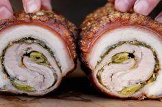 Porchetta – Schweinerollbraten vom Drehspieß Bbq Grill, Avocado Toast, Sushi, Food And Drink, Breakfast, Ethnic Recipes, Youtube, Pork Belly, Crickets