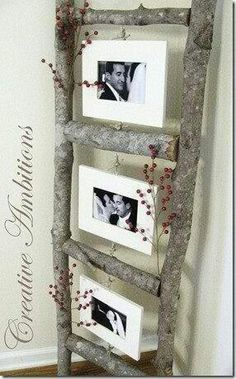 DIY photo ladder using tree branches DIY Wood Crafts Diy Projects To Try, Home Projects, Home Crafts, Diy Home Decor, Diy And Crafts, Craft Projects, Arts And Crafts, Diy Casa, Home And Deco