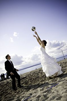 Cute volleyball picture. If the volleyball quart is up, we're thinking of doing this for a photo shoot. Tonhya Kae Photography