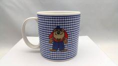 Taz Tazmanian Devil Warner Brothers Store Blue Check Coffee Mug