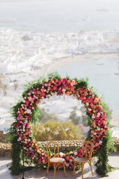 Today's colorful al fresco destination wedding had us at first sight - from the colorful giant floral ring to the elegant white + greenery reception! Grecian Wedding, Chic Wedding, Trendy Wedding, Wedding Blush, Dream Wedding, Wedding Dress, Whimsical Wedding, Floral Wedding, Wedding Colors