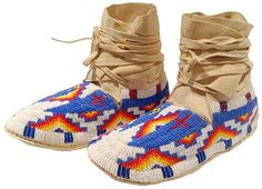 American Indian Blue and White Beaded Ankle High Moccasins - Left view