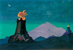Н.К.Рерих. Цветы Тимура [Огни победы] Эскиз. 1931 Холст на картоне, темпера. 30,5х44,5