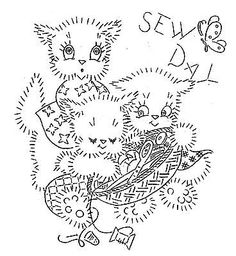 Vintage Embroidery transfer repo 3441 Three Kittens for Kitchen Towels