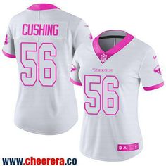 Women's Houston Texans #56 Brian Cushing White Pink 2016 Color Rush Fashion NFL Nike Limited Jersey