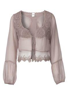Pretty blouse, Crochet on chiffon by Oxmo ~ mirellas.ca