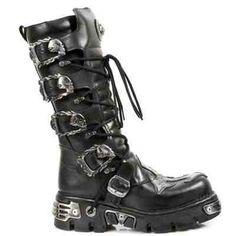 New Rock Shoes Black Leather Gothic Combat Boots Womens Gothic Boots, Gothic Shoes, Gothic Clothing, Patent Leather Boots, Black Leather, Leather Armor, Botas Goth, Calf Boots, Combat Boots