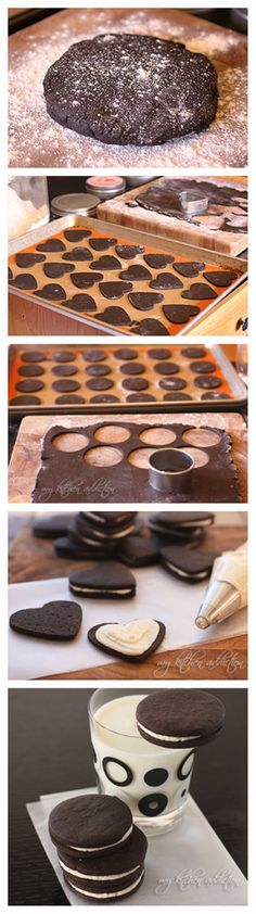 Homemade Oreo Cookies for a special occasion! Lower baking powder to t for crisper cookies. Oreo Dessert, Cookie Desserts, Just Desserts, Delicious Desserts, Dessert Recipes, Yummy Food, Oreo Cookie Recipes, Homemade Oreo Cookies, Recipe For Making Cookies