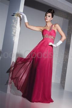 Goodgoodschina - A-line One Shoulder Chiffon Beading , Ruffles Prom Dress