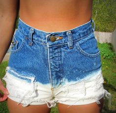 Upcycled Bleached Denim High Waist Shorts by RomaniRose on Etsy