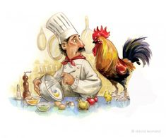 chef art by David Leonard Chef Kitchen Decor, Kitchen Art, Food Illustrations, Illustration Art, Chef Pictures, Chicken Art, Decoupage Paper, Cool Paintings, Clipart