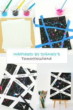 Not only will kids LOVE creating with this splatter paint technique, but they'll also gain self-confidence in their artistic dreams! (Inspired by Disney's Tomorrowland) Crafts For Teens, Projects For Kids, Diy And Crafts, Art Projects, Arts And Crafts, Science For Kids, Art For Kids, Ecole Art, Paint Splatter