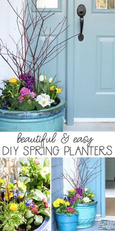 Beautiful DIY Spring Planters & Styling our Spring Porch #springplanters #springporch #springdecor #thehappyhousie