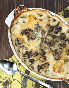 Provolone, Mushroom and Potato Gratin- Cheesy Potatoes get a whole new look with the addition of provolone, mushrooms and fresh thyme.