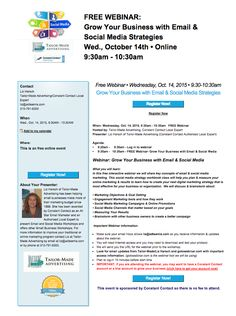 Join me on 10/14 for a FREE Webinar: Grow Your Business with Email & Social Media Strategies.