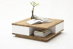 Couchtisch Bibi Asteiche Massivholz 1 x Couchtisch mit 2 Schubkästen matt weiß lackiert offene Ablagefläche und 4 Rollen Material: Asteiche massiv, geölt...