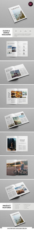 Mise en page simple de type magasine avec le l'accent sur la typographie et les photos.