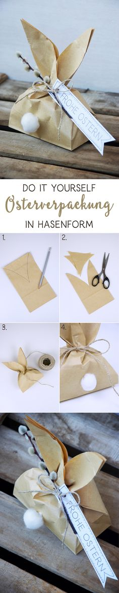 {DIY} Easter packaging in rabbit shape - barfuss.november- {DIY} Osterverpackung in Hasenform – barfuss.november DIY // Easter packaging in rabbit shape – Instructions packaging - Kids Crafts, Easter Crafts, Holiday Crafts, Diy And Crafts, Spring Crafts, Wood Crafts, Kids Diy, Easter Gift, Easter Bunny