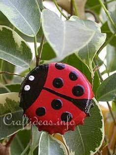 bottle caps painted to look like bugs! you could use them as little accent pieces for your projects or adhere them to a metal rod & stick them in the ground !!