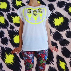Items similar to Women's grey T-SHIRT, embellished with a bold neon orange print and appliqué panels in a painty polka dot fabric . on Etsy Tie Dye, Peach, T Shirts For Women, Dark, Yellow, Trending Outfits, How To Wear, Etsy, Beauty