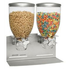 Double Designer Edition Dry Food 2 Cotainer Cereal Dispenser