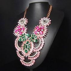 Crystal Layered Chunky Statement Necklace