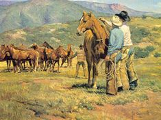 Bill Owen ~ The Cowboy Artist Western Clip Art, Cowboy Prayer, Cowboy Artwork, Western Horseman, Horse Anatomy, Bill Owen, Cowgirl And Horse, Ecole Art, West Art