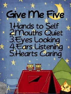 Grab your students' attention with a simple Give Me Five.Graphics purchased at: www.justsoscrappy.com....
