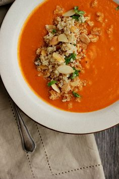 Spicy Moroccan Chickpea Soup with Orange + Almond Quinoa and a Giveaway! ⎮ happy hearted kitchen