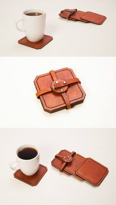 leather coasters. Set of square hand tooled by CaymanLeather