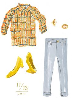 Classic Autumn outfit, illustrated by Danielle Kroll