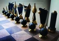 Marble and brass chess set.