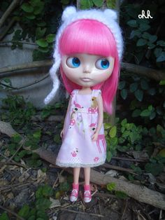 blythe outfit  kawaii baby deer dress and pansy hat by sandraohh, $28.00