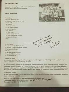 LAUSD, CA school district's coffee cake recipe