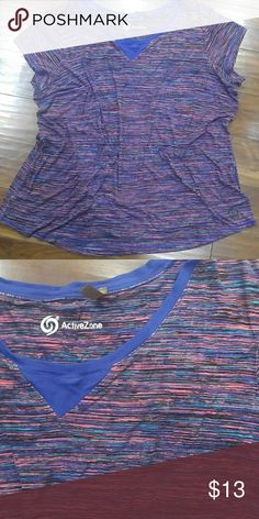 PLUS Active tee Blue, teal, pink and black Spacedye Active tee from Active Zone in size 2x. Fits large, close to a 22. Good condition. Active Zone Tops Tees - Short Sleeve