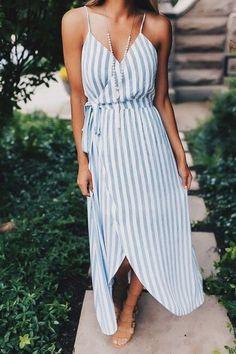 Sommerkleider mit Streifen #ootd #fashion Wickelkleid