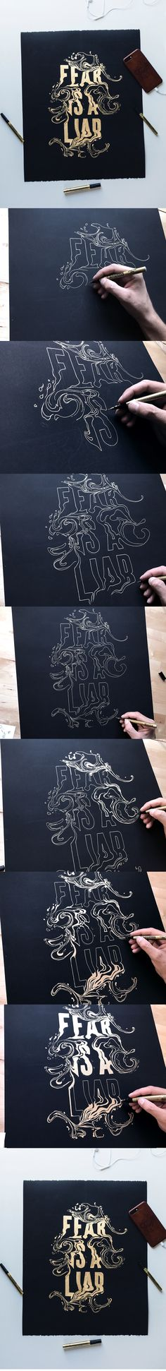 FEAR IS A LIAR | Lettering Artwork By artist @ginozko #typography #gold #lettering #design #ginozko