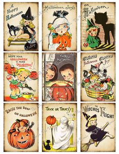 Digital Collage Sheet Retro Halloween Instant by TheVintageRemix
