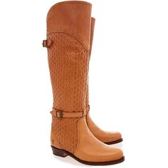 Frye Dorado Riding Woven Boots (4.875 ARS) ❤ liked on Polyvore featuring shoes, boots, neutrals, frye boots, slim riding boots, leather sole boots, frye and riding boots