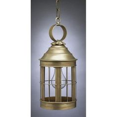 Northeast Lantern Heal 1 Light Outdoor Hanging Lantern Finish: Raw Brass, Shade Type: Clear Seedy