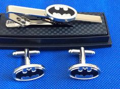 Batman Tie Clip with Matching Cufflinks by TAKALAP on Etsy
