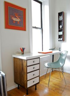 Old nightstand repurposed into a super cool desk.