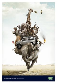 Creative Advertising Inspiration - ad campaign for Land Rover Phone Creative Advertising, Print Advertising, Print Ads, Advertising Archives, Advertising Campaign, Photomontage, Desgin, Cg Art, Creative Photos