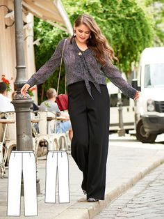 They have the proper look for business wear – yet they are incredibly relaxed and comfortable. The straight leg trousers include a comfortable elastic waistband. #burdastyle #sewing #pattern #diy
