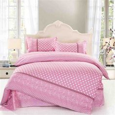 Ttmall Twin Full/queen Size Cotton Pink White Pattern Polka Dot for Girls Printed Duvet Cover Set/bed Linens/bedding Sets/bed Sets/bed Covers (Full/Queen, without comforter) Girls Comforter Sets, Pink Bedding Set, Cheap Bedding Sets, Cotton Bedding Sets, Bed Linen Sets, Queen Bedding Sets, Luxury Bedding Sets, White Bedding, Affordable Bedding