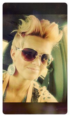 Short hair! Blonde and light pink Fohawk. Super fun! Heidi Mickelson does my hair!