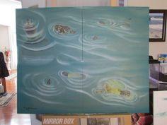 Turtle Pond, beautiful 4 panel set, original painting artwork by Edward Maldonado