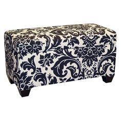 Skyline Fiorenza Upholstered Storage Bench $229.98  Streamlined storage bench in cotton upholstery  Sophisticated pattern with floral accents  Clean, simple seams, tapered wood legs  Some simple assembly is required  Measures 39L x 19.5W x 21H inches