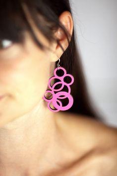 Pink Earrings Laser Cut Wood Jewelry via Etsy