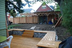 easy sunken patio, Gabion retaining wall out of recycled rocks from the backyard.